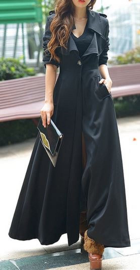 Love the Length! Love the Design! Gorgeous Black Pure Color Turn Down Collar Long Sleeve Maxi Coat #Fall #Coat #Fashion ---- Hideous shoes, but that coat is all drama.
