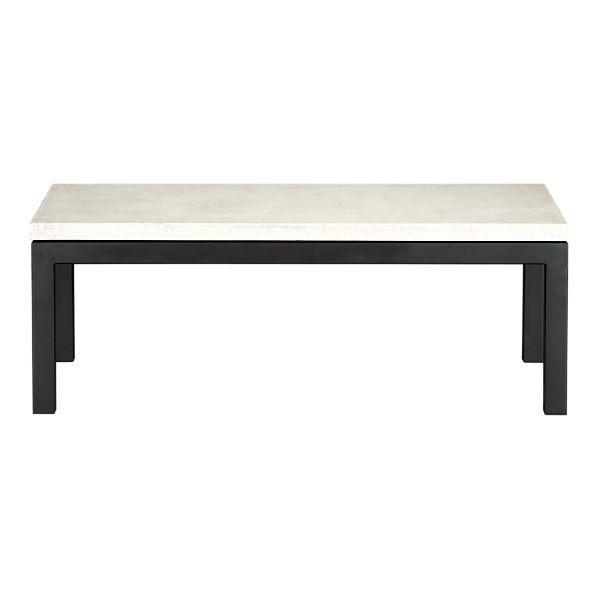 parsons rectangular coffee table with travertine top $599: Wood Coffee Tables, Barrel Marble, Marble Top, Parsons Style Table