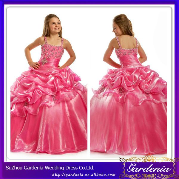 Straps Ball Gown Beaded Top Organza Puffy Hot Pink Dresses