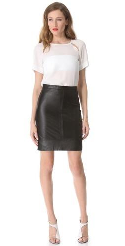 Tibi Leather Pencil Skirt | SHOPBOP
