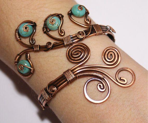 Declaración pulsera ajustable a mano turquesa azul envuelto Joyería Turquesa brazalete pulsera alambre envuelto a mano cobre joyería de alambre