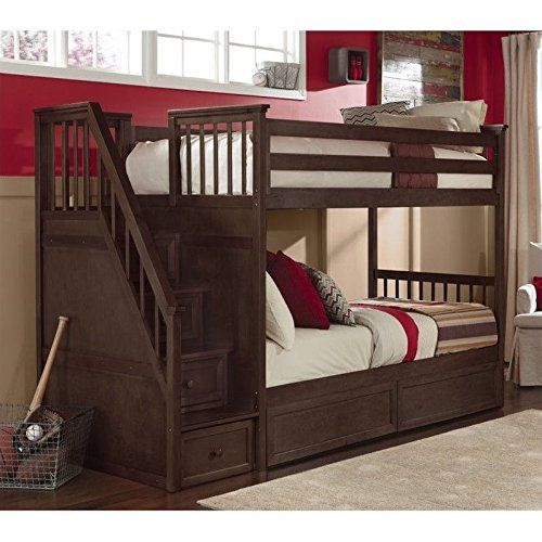 NE Kids School House Twin over Twin Stair Bunk Bed in Chocolate >>> Click image to review more details.