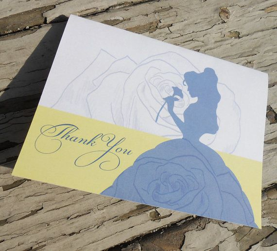 Disney Beauty and the Beast - Belle Bridal Shower Thank You Card - Custom Printable PDF on Etsy, £10.33