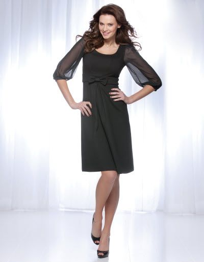 Chiffon Sleeve Ponti Dress in Black £55.00	  Available in sizes 8-18 Curvy/Really Curvy and Really/Super Curvy.