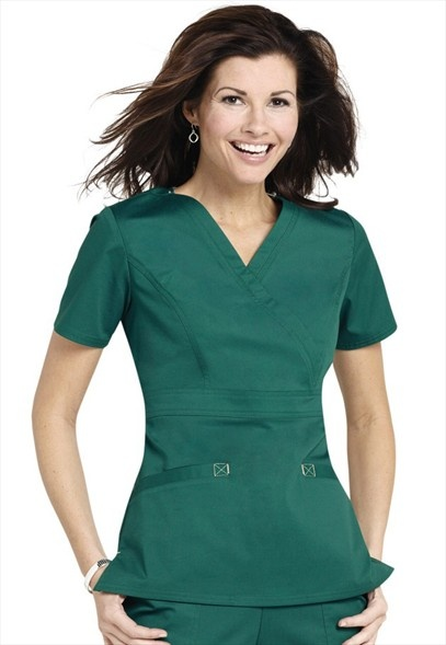 Cherokee Workwear Stretch mock-wrap scrub top.