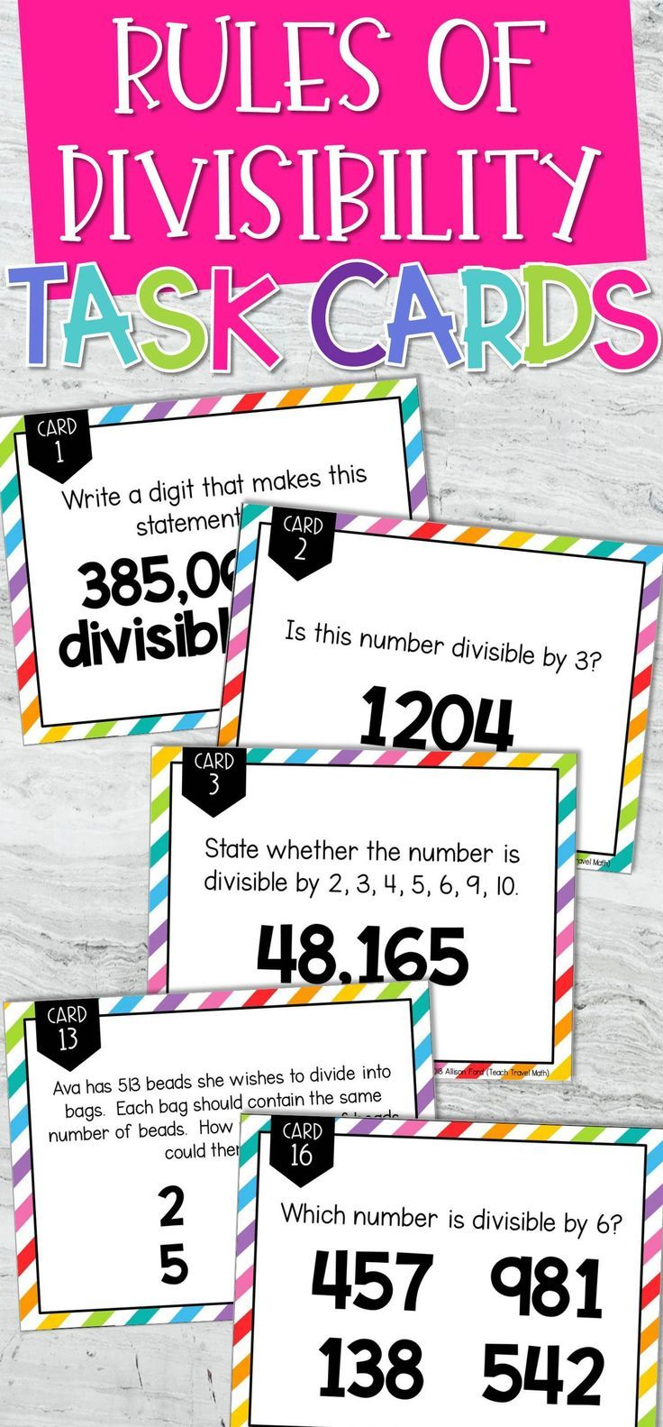 Rules Of Divisibility Task Cards Math Games Task Cards Math Games Middle School Upper Elementary Math
