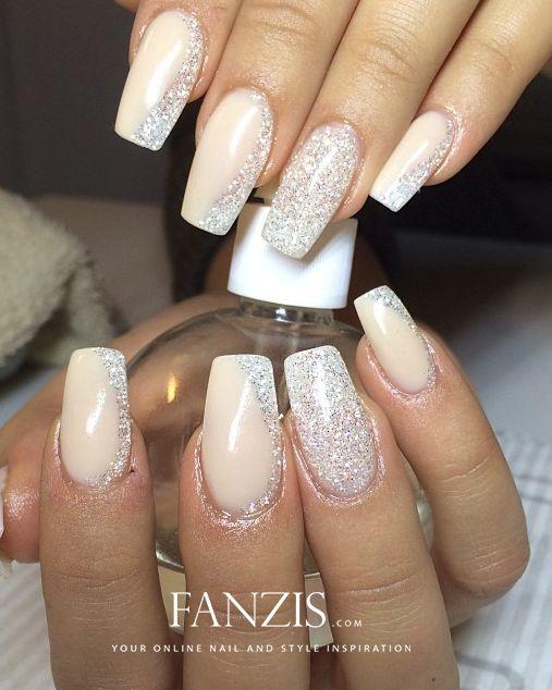 white glitter nails