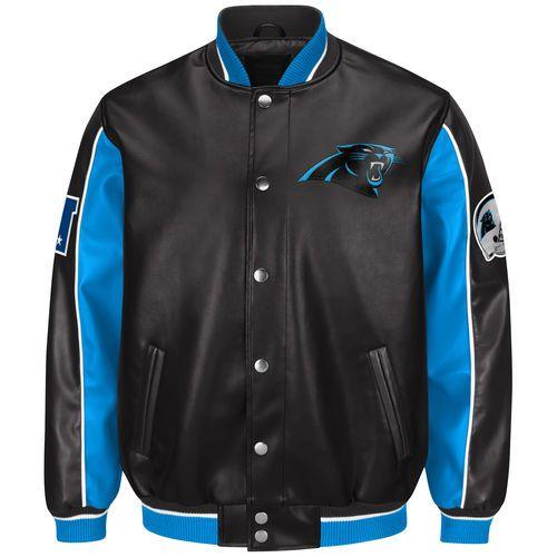 Men's Carolina Panthers G-III Sports by Carl Banks Black Defense Pleather Jacket