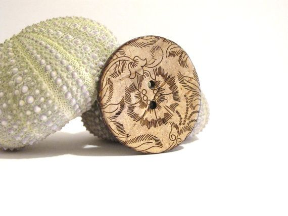 wood button brooch