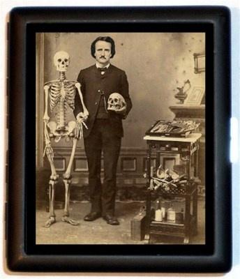Edgar Allen Poe with Skull and Skeleton