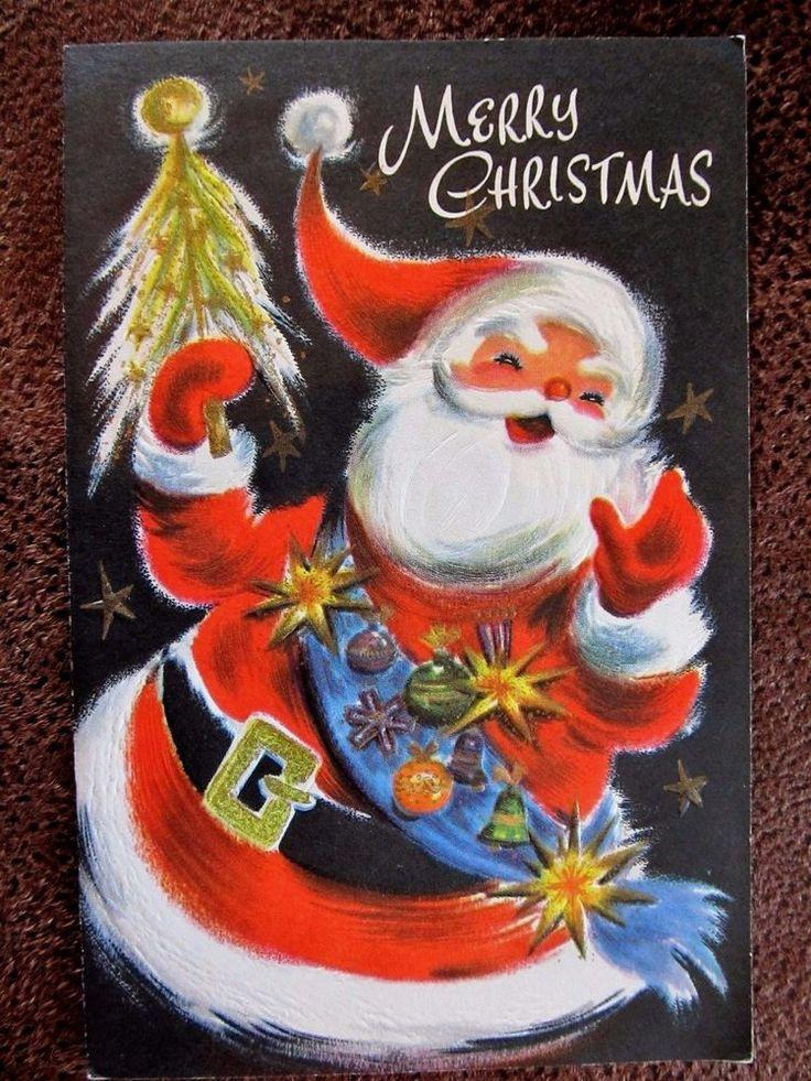 Vintage Christmas Card MCM Santa Wearing Ornament Starburst Sash Gold Stars Tree