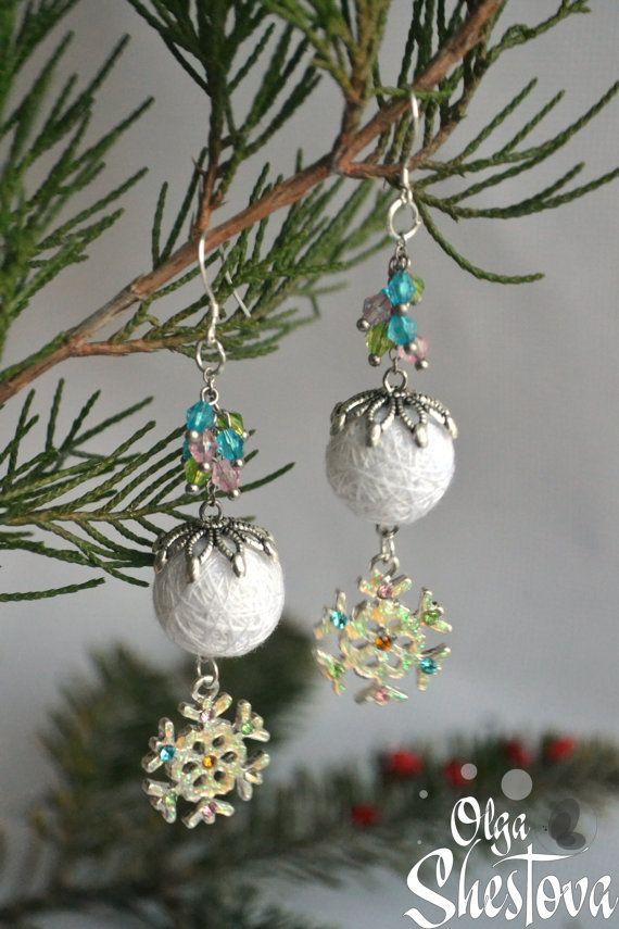 Earrings from Cotton Balls Snow white Handmade от OlgaShestova