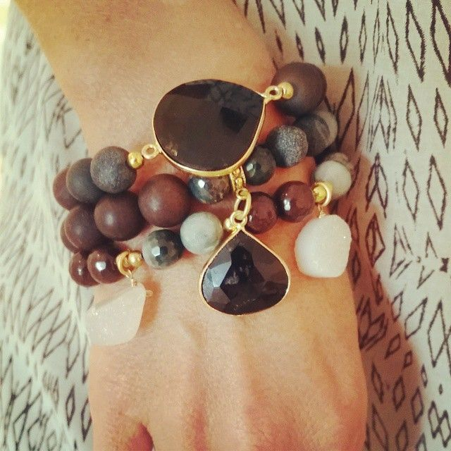 #StackOfTheDay: Black Agate and White Natural Druzy #Stackable #Bracelets