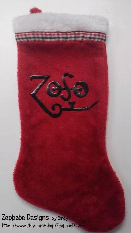 led zeppelin zoso christmas stocking by zepbabedesign on etsy - Led Zeppelin Christmas