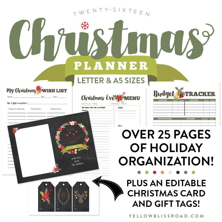 Everything You Need to Organize Your Holidays from Budget Trackers and Menu Planners to Editable Christmas Cards and Editable Gift Tags.