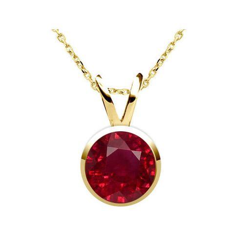 Diamantring / Diamantarmband / Diamantschmuck: Rubin Anhänger 2.10 Karat Solitär aus 585er Gelbgo...