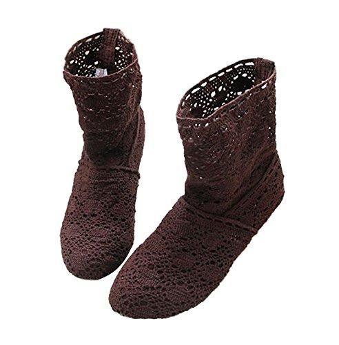 Oferta: 12.92€. Comprar Ofertas de Minetom Mujer Verano Otoño Sandalias de Cuña Platform Tobillo Boots Respirable Encaje Hueco Redonda Toe Zapatos Botas Marrón barato. ¡Mira las ofertas!