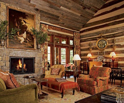 Featured in Architectural Digest, Toad Hall belongs to Kreis and Sandy Beall, and it sits on 32 acres in Tennessee. The architect was Jack Davis, and they brought Atlanta-based designer Suzanne Kasler in to give the log house some English Country Style.