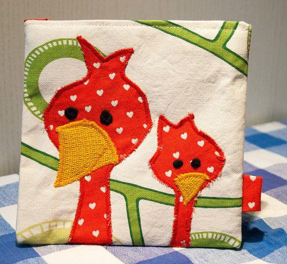 Bird Zipper #Pouch, Handmade in Norway, Kawaii design, Quality Crafts, Make-up bag, Wallet, Whimsical Birds
