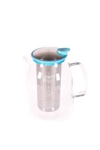 """Pichet à thé glacé """"Mist"""" en verre avec bordure de couleur turquoise"""