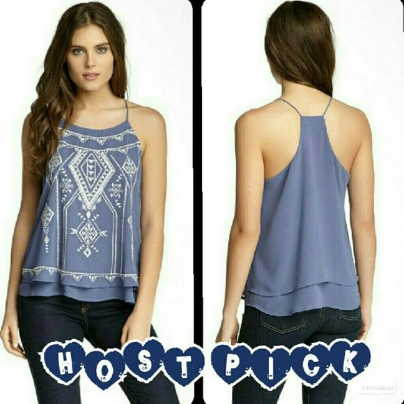 ⏰Flash Sale⏰ Embroidered Aztec Print Tank This tank is brand new with tags. It is a halter spaghetti strap tank in a grayish blue color with a white embroidered Aztec print. Made of 100% polyester. Tag size Small. Blu Pepper Tops