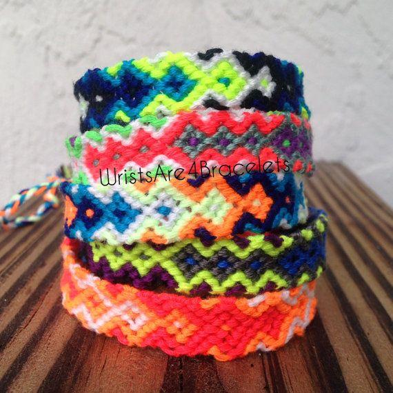 Neon Tribal Friendship Bracelet - Arrowhead and Tribal Patterns