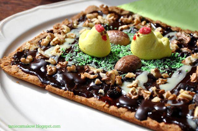 Mazurek orzechowo-śliwkowy z czekoladą