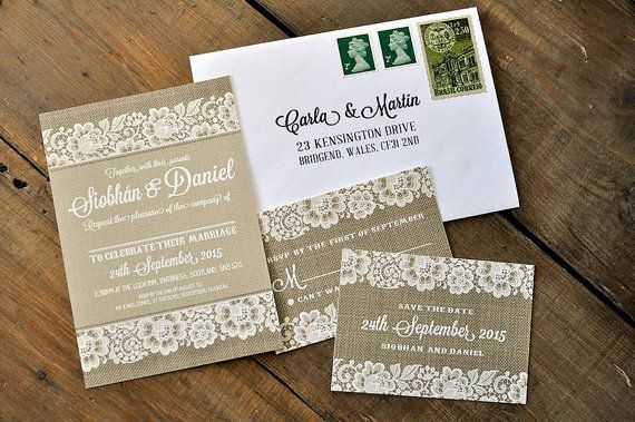 Shabby Chic Lace Wedding Invitation Suite & Save the Date on luxury textured card (printable option also available)