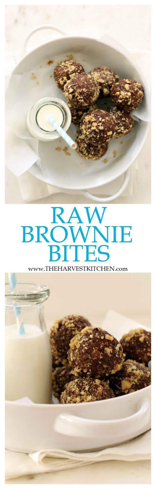 These Raw Brownie Bites are made with dates, walnuts, almonds and cacao.  They're a perfect healthy snack to for you to indulge on without an ounce of guilt! | healthy recipes | | gluten free | | raw energy bites | | healthy brownies |
