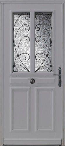 Porte bois, Porte entree, Bel'm, Classique, Poignee plaque rustique, Mi-vitree, Double vitrage imprime 200, Chassis ouvrant avec grille, Chassis ouvrant, Grenada