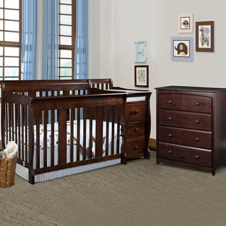 Storkcraft 2 Piece Nursery Set - Portofino Convertible Crib Changer Combo and Beatrice 4 Drawer Dresser in Espresso
