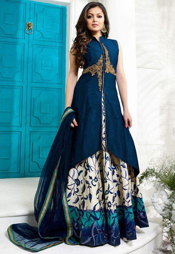 Drashti Dhami Prussian Blue and Off White Lehenga Kameez