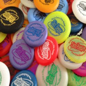 """New cool """"Disc Beeper""""branded mini discs. A must for Disc Golf performers."""