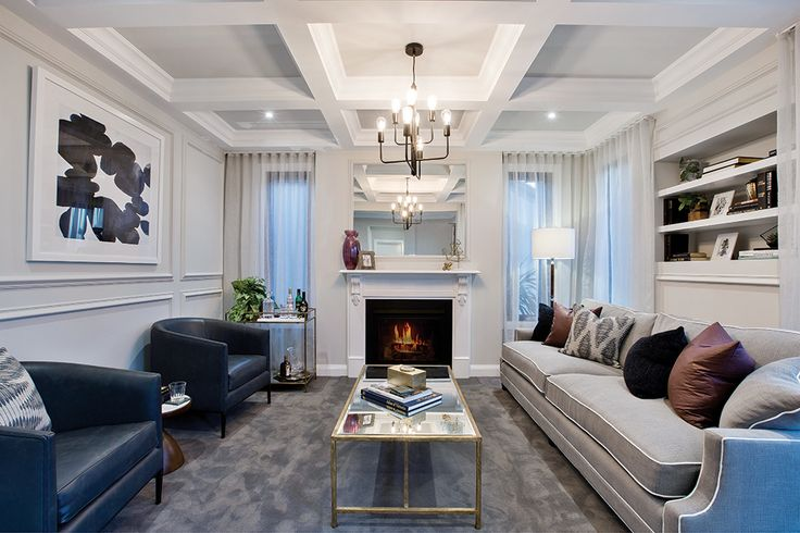 Front formal lounge option with fireplace on display in a San Francisco World of Style.