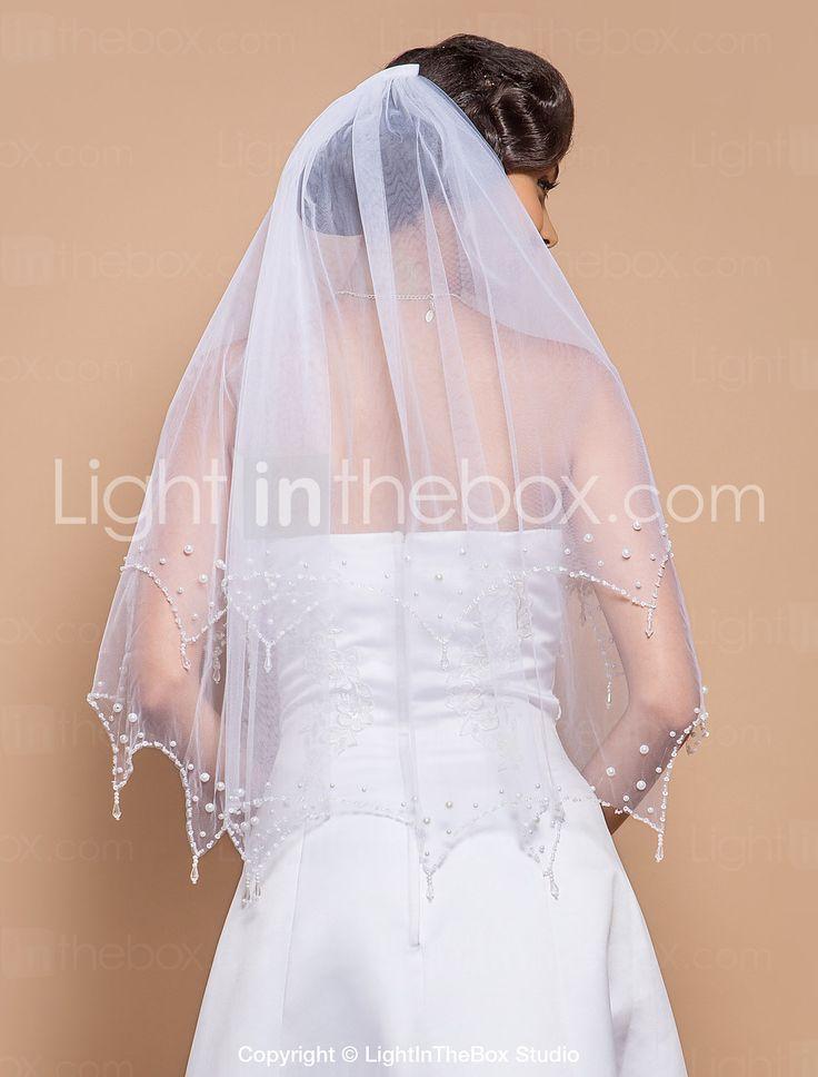 Two-tier vingertop bruiloft sluier met kralen Edge & Pearls & Pailletten - EUR € 25.08