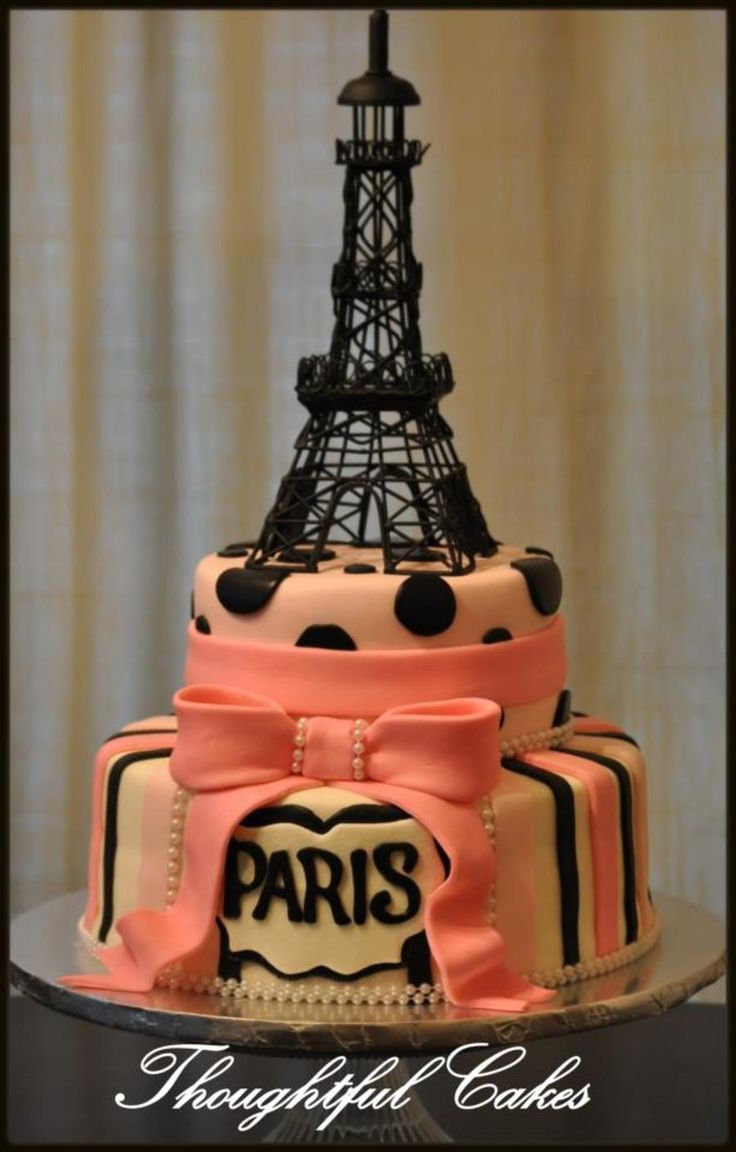 Paris Eiffel Tower Birthday Cake