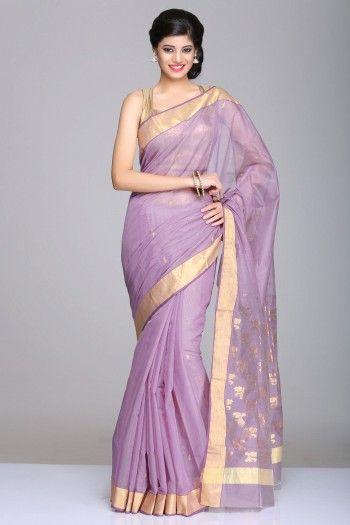 Lavender Chanderi Saree With Gold Zari Border And Floral Motifs On Pallu