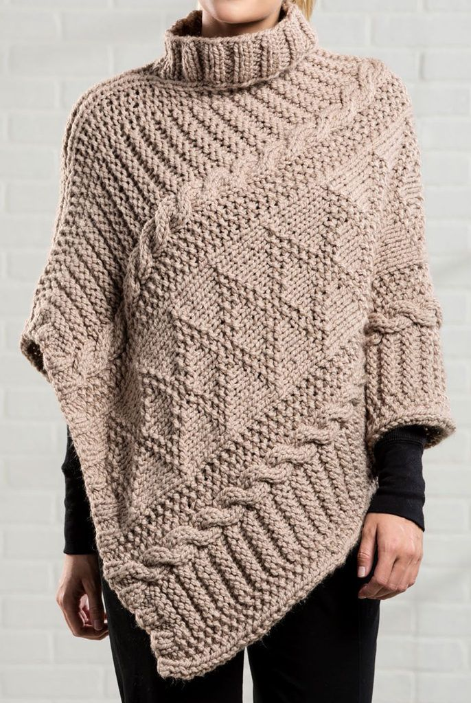 9211d53e54ed4 Free Knitting Pattern for Gansey Poncho - The poncho is knit in a single  long panel that is folded in half and sewn together along one side