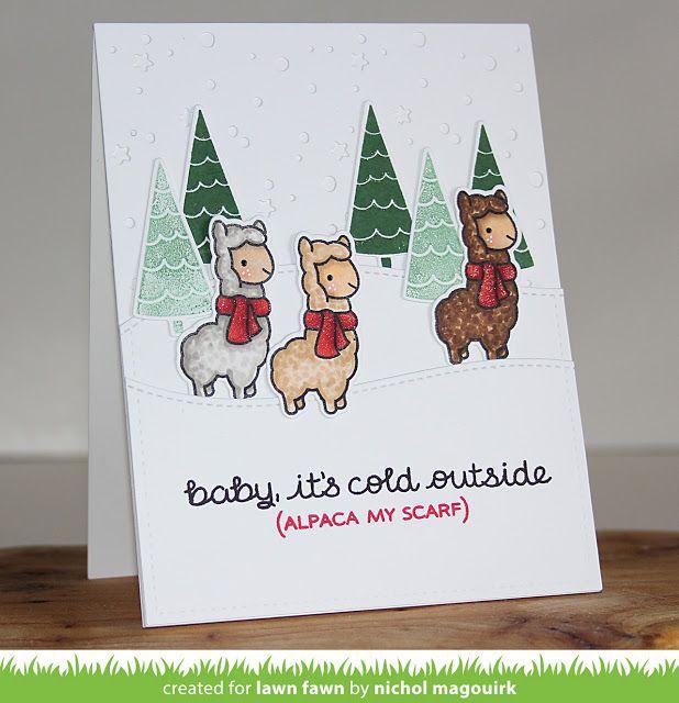 the Lawn Fawn blog: Lawn Fawn Video {10.6.15} A Cute Winter Alpaca Card by Nichol!