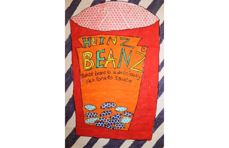 Artwork from student at Hampshire Collegiate School - Year 5 Pop Art - Heinz Beanz