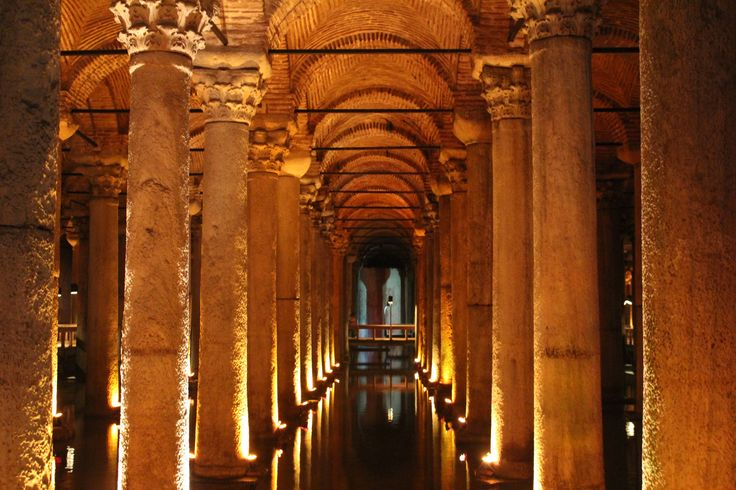 An ancient Roman Cistern discovered underground in Istanbul, Turkey.
