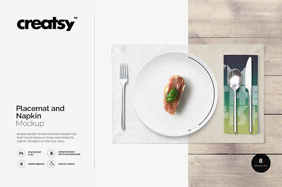 Placemat and Napkin Mockup by Creatsy on @creativemarket