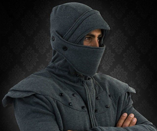 Chivalry might be dead, but that doesn't mean you can't still dress like a knight in modern times with these armored knight hoodies. Featuring a retractable helmet and reinforced stitching, your armored knight hoodie is sure to last through many joustings.
