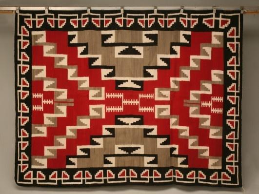 Authentic American Indian Navajo Ganado Pattern Rug