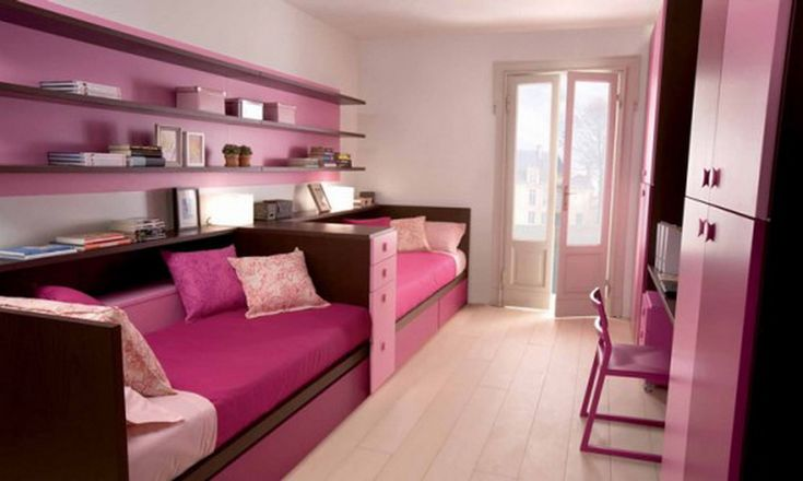 Another fun idea for fitting 2 beds in one room..great for sharing of sleepovers.