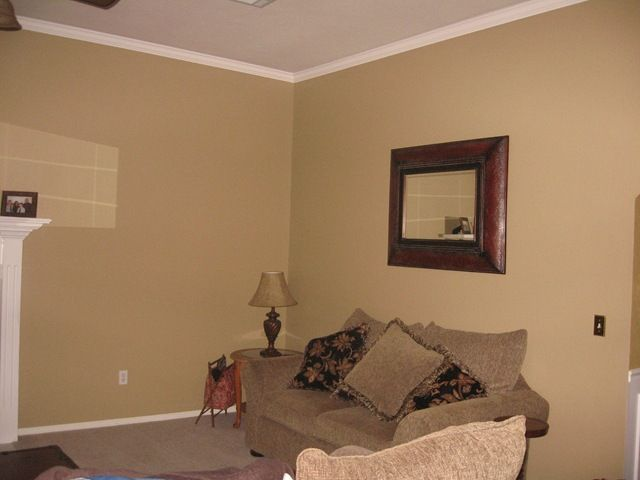 best color for walls in living room example huntington beige green undertones sofa is brown 27169