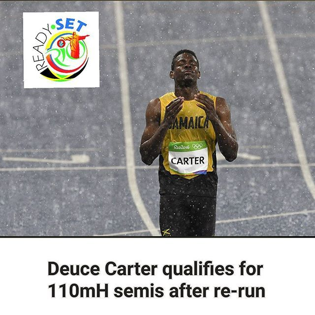 Jamaican Deuce Carter will compete in the 110m hurdles semi-final after running 13.51s in a heat rerun at the Rio Olympics in Brazil, a short while ago. Carter, who was the only one to run fast enough to make the semis from the re-run, joins fellow Jamaicans Andrew Riley and Omar McLeod in the next round. #ReadySetRio  Read more at www.jamaicaobserver.com/latestnews