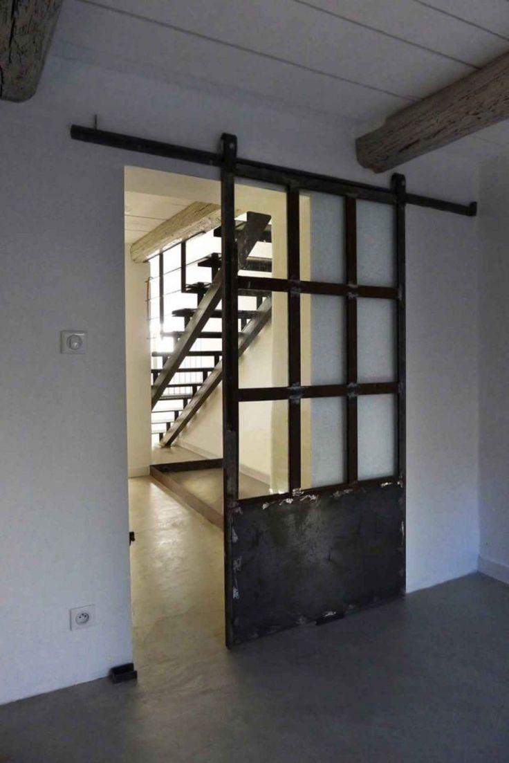 Industrial Metal & Glass Door / Barn Door Slider / Home Decor