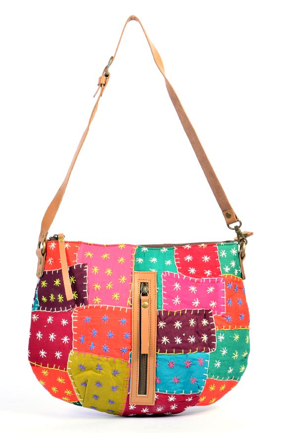 Handmade Multicolor Patch Work Half Moon Shape Handbag madeup of Various colors patches material  and embroidery with lomg leather belt   for womens and girls to carry casually  all things in it spacious and zip closer.  #Buyhandbagsonline #HandmadeHandbags #Authenticdesignerhandbags #Womenswallets #Pursesonline #Handmadeitems #Styleincraft