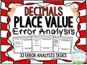 Engage your students with 32 DECIMALS Place Value Error Analysis Tasks covering a wide variety of decimal place value concepts, including expanded form, standard form, number form, rounding, comparing, place, value, and more!$